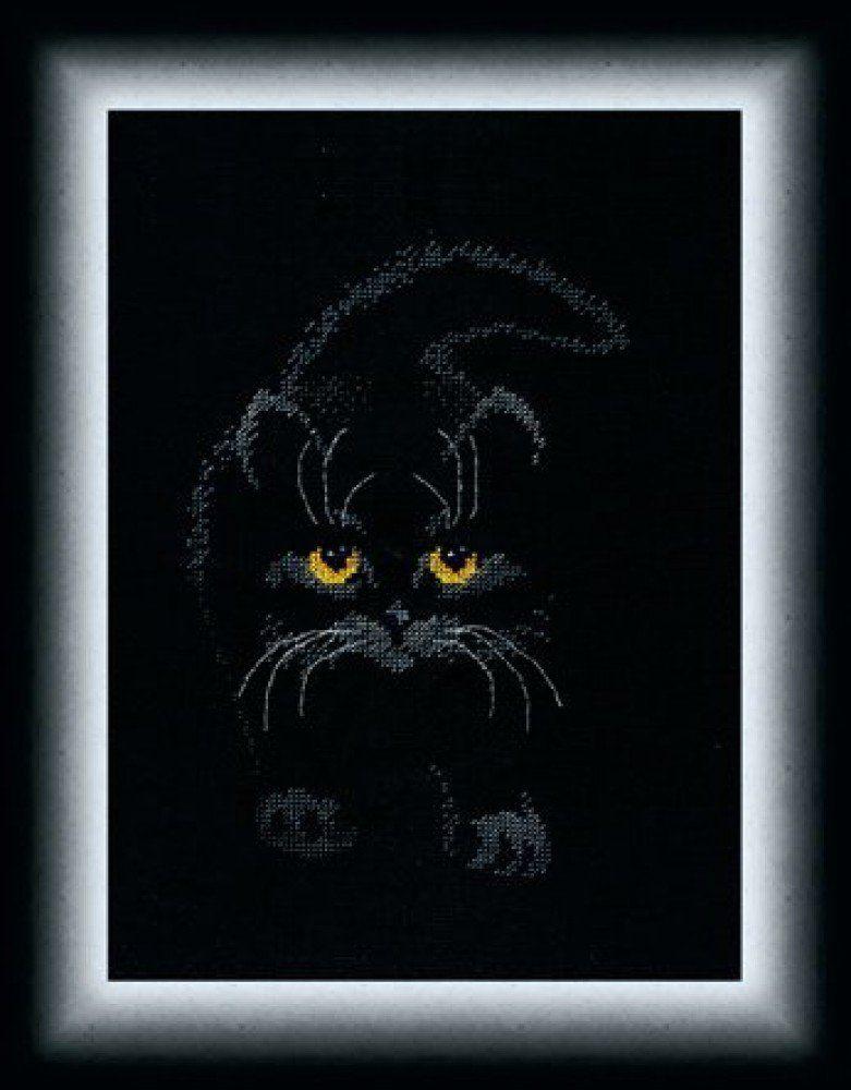 Вышивка крестом кошка черная 29